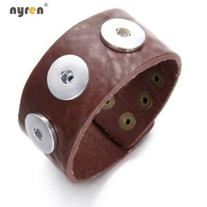 Brown Leather Snap Charms Bangle Bracelet  For 18mm Snap Button Snaps Jewelry
