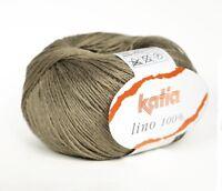 50g KATIA LINO 100%  LEINEN Linen Lin Hør Flax - Fb. 17 TAUPE 150m/50g