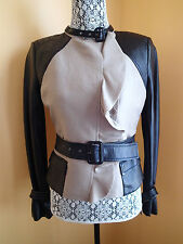 "NWT BCBG MAX AZRIA $548+ Size Small ""Tucker"" Leather Sleeve Moto Trench Jacket"