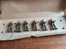 Vintage Metal Toy Soldiers In Battledress Tommy Gunners - Original Box