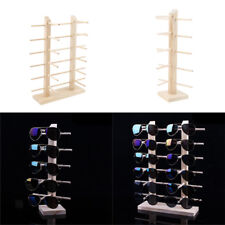 2pcs Wood Sunglasses Eyeglass Rack Display Stand Holder for 5 Pairs 12 Pairs