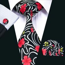 100% Pure Silk Tie Cuff-links & Handkerchief Set Black Red & White Floral Design