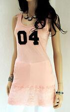 Rinascimento mujer top viscosa S M 36 38 Rosado Con Encaje Camiseta Top Largo