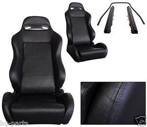 NEW 1 PAIR BLACK PVC LEATHER + BLUE STITCH ADJUSTABLE RACING SEAT CHEVROLET ****