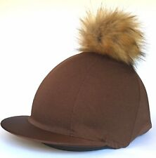 GGGear Cross Country Hat Silk, Brown with Faux Fur Pom pom