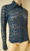 ANNE FONTAINE Blue Floral Lace Collared Long Sleeve Evening Blouse Top FR42 14