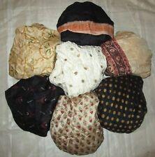 LOT PURE SILK Vintage Sari REMNANT Fabric 7 Pcs 1 ft Black Cream #ABD7U