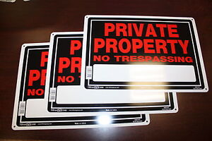 "3 set PRIVATE PROPERTY NO TRESPASSING 10"" x 14"" Aluminum ( metal ) Sign Hillman"