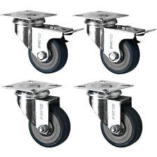 4 x Heavy Duty 50Mm gomma girevole CASTOR Ruote Carrello Mobili CASTER FRENO