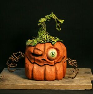 Whimsical One-Eyed-Jack Pumpkin Wood Carving, Chainsaw Carving, Wood Art, SHRUM
