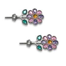 Cambria Kidz Finials Pair Sparkle Gem Flowers Jeweled Pink Green Curtain Rod NEW