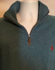 mens - POLO by RALPH LAUREN sweater - XL- ZIPPER COLLAR - 100% COTTON  Blue