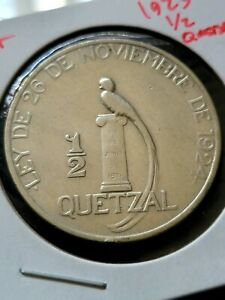 Guatemala 1925 1/2 Quetzal Silver Coin + VF MINTAGE 400,000K