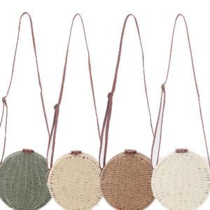 Women Shoulder Bag Round Beach Straw Crossbody Bag Top-handle Fashion Chain Bag