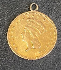 INDIAN PRINCESS TYPE 3  GOLD DOLLAR $1 LOVE TOKEN PENDANT ENGRAVED REVERSE