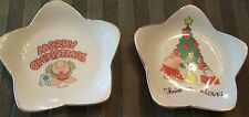 2 - 1981 ZIGGY STAR SHAPED CHRISTMAS CANDY DISHES - GENUINE PORCELAIN - JAPAN