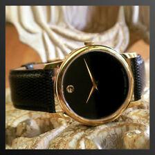 New MOVADO Museum 2100006 Black Dial Leather Strap Quartz Ladies Watch w/ box