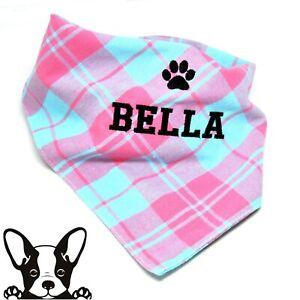 Handmade Personalised Embroidered Dog Bandana Neckerchief Pink & Blue Check