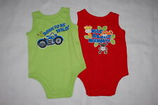 Baby Boys 2 LOT TANK TOP Green Red BORN TO BE WILD Motorcycle MOMMY Animal 18 MO