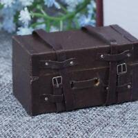 1:12 Doll House Luggage Box Miniature Leather Wood Suitcase Y6Z1 Toys J5Q8