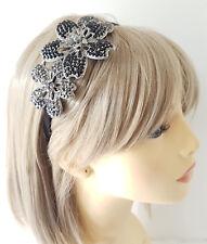 Diseño de la Flor De Metal Negro Diamante impresionantes Fascinator de la diadema-Aliceband #23