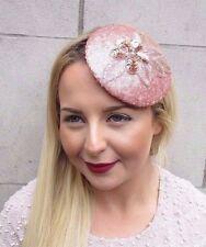 Rose Gold Sequin Fascinator Hat Races Headpiece Hair Clip Vintage Statement 2685