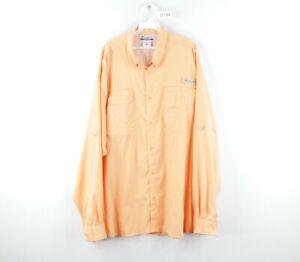 Columbia PFG Mens 2XL XXL Long Sleeve Double Pocket Hiking Fishing Shirt Peach