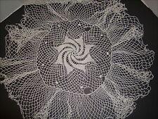"""Vintage White Hand Crochet Table Topper Doilie Pinwheel Center 25"""" Diameter"""