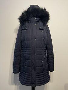 Costco Weatherproof Ladies Navy blue Coat / Faux Fur Lined Hood Size Medium