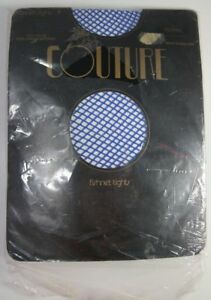 Vintage Couture Blue Fishnet Tights Medium