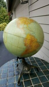 """Antique 1918 Rand McNally terrestrial globe 18"""" on cast iron stand 29"""" tall WOW!"""