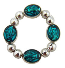 One Decade Rosary Ring with Teal Our Lady of Grace Miraculous Medal Prayer Beads