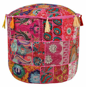Indien Vintage Pouf Ottoman Foot Stool Cover Round Patchwork Embroidered Pouffe