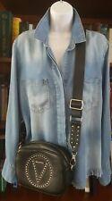 Valentino By Mario Valentino Mia black Studded Leather Crossbody Bag Retail $675