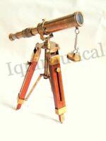 "10"" Antique Brass Telescope With Wooden Tripod Stand Nautical Desk Telescope"