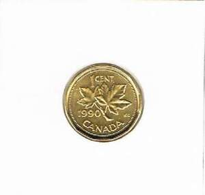 Canada 1990 vergulde / gold plated 1 cent (goud051)