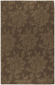 "Surya Brown 3 x 8 Wool Floral Contemporary Runner Area Rug - Approx 2' 6"" x 8'"
