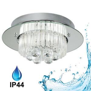 Genuine Crystal IP44 Bathroom Ceiling Light Fitting Chrome Mirror Droplets