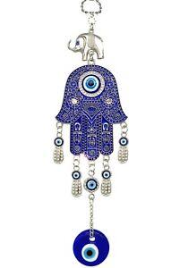 Turkish Blue Evil Eye Hamsa Hand with Elephant Wall or Car Hanging Amulet Gift