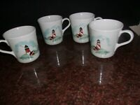 4 Corning Ware Corelle Outer Banks Mug Cup Tea/Coffee  Lot of 4 Lighthouse