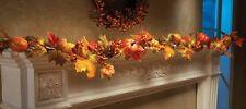 Autumn Leaves LED Lighted Pumpkin Garland Fall Decor NEW