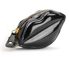 BETSEY JOHNSON Black LIPS Bag WRISTLET Coin Purse Very Cute and rare!