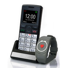 Desbloqueado Teléfono Móvil Senior de Big Button SOS botón + Pulsera de emergencia y Cámara