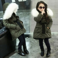 Kids Baby Girls Fur Hooded Tops Jacket Padded Coat Long Thick Warm Jacket Parka