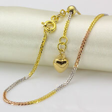 New Pure 18K Multi-tone Gold Necklace Woman 1.2mm Fashion Wheat Adjustable Chain