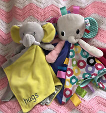 "TAGGIES Baby Elephant Doll Plush Security Blanket 15"" +Elephant ""Hugs"" 14"" Lovey"