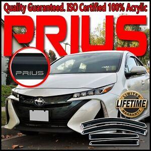 Fits 2016-2021 Prius-Prime Side Window Deflector Visors Rain Vent Guards w/Logo