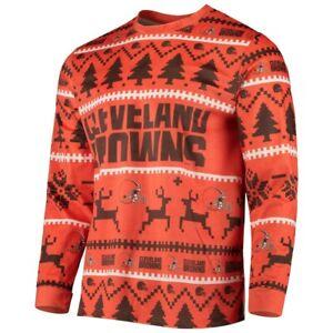 NFL Cleveland Browns Orange Holiday Ugly Pajama Top Women's Medium EUC B39