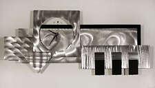 Large Silver/Black 3D Wall Clock - Modern Abstract Metal Wall Art by Jon Allen