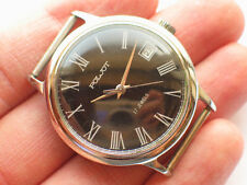 Rare soviet POLJOT windup watch Military BLACK Dial *SERVICED* VGC+
